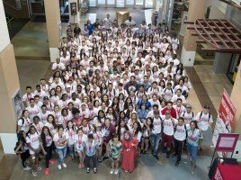190 students pose for a group photo after attending the EOP Summer Bridge Orientation on Tuesday, June 28, 2016  (Jessica Bartlett/Student Photographer)