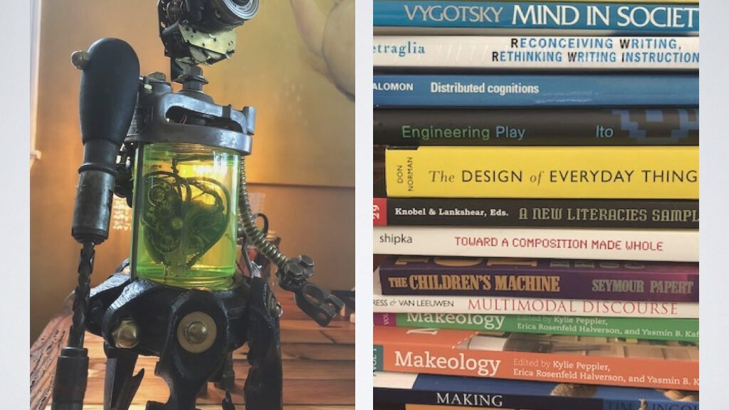 picture of robot and books