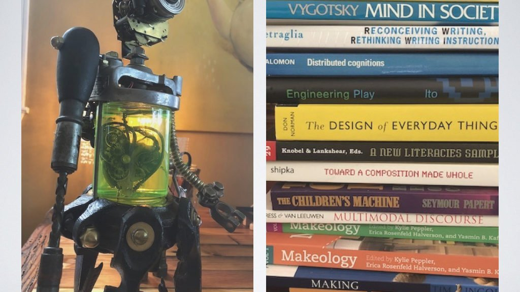 image of a robot and books